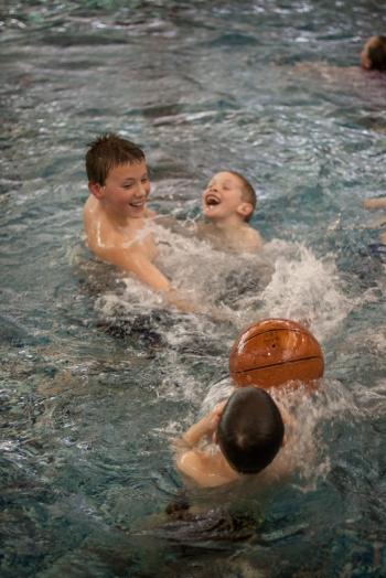 pool fun with his big cousin, cory.